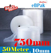750mm x 50M Meter Bubble Wrap Roll Bubblewrap - CLEAR 10mm Bubble