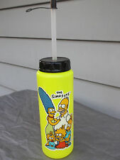 """New Vintage 1990 """"The Simpsons"""" 9"""" Yellow Water Bottle with Cap & Straw"""