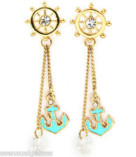 New Anchor Earrings Pierced Crystal Dangles