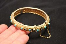 Antique Chinese Export Bangle Bracelet Turquoise Silver Vermeil Enamel Filigree