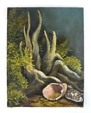 Vtg 70s Signed Oil Canvas Sea Shell Aquatic Forest Painting Un Framed Wall Art