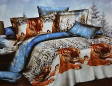 Todd Linen Tiger Snow Friends Queen Reversible Duvet Quilt Cover Active Print