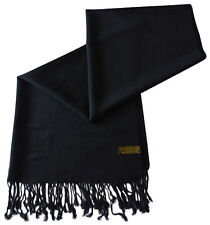 Black Solid Colour Pashmina Shawl Scarf Wrap Stole Throw CJ Apparel Shawls *NEW*