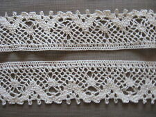 10 YDS SCALLOPED NATURAL COTTON CLUNY LACE TRIM.