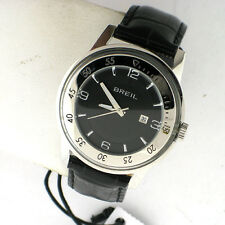 BREIL MILANO SWISS MADE WATCH TW1148 SILVER TONE SS BLACK LEATHER MENS
