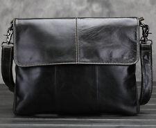 Mens Genuine Leather Shoulder Messenger Briefcase Hiking School phone book Bag