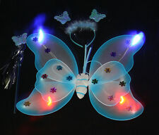 Lighted Mulitcolor kid girls butterfly wings wand and headband Fairy Princess