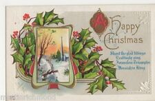 A Happy Christmas, Winter Scene & Holly Embossed Postcard, B520