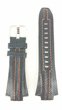 Original Seiko Sportura Leather Watch Strap SNA595 Black Orange SNJ011 7T62-0ED0
