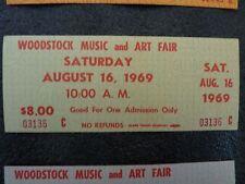1969 Concert Woodstock TICKET MINT  (GREEN) Original signed certificate Genuine