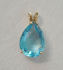 14k Yellow Gold & Sky Blue Apatite Pendant Faceted Pear Large 18mmx13mm 9ct 3.5g