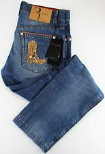 NWT 790$ BILLIONAIRE COUTURE JEANS embroidered blue leather luxury Italy us 36