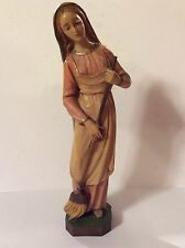 """Virgin Mary Madonna Figurine Italy Statue With Broom 10.5"""" Tall"""