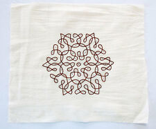 """Extra Large Rangoli Applique on Cotton from India. Hand Embroidered 11"""" x 6½ """""""