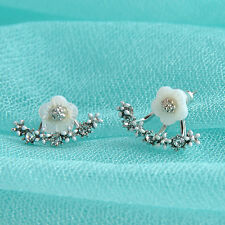 Women Jewelry Elegant Crystal Rhinestone Ear Jacket Stud Daisy Flower Earrings
