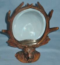 ANTIQUE CAST METAL DEER ANTLER OVAL BEVEL MIRROR 1890s PICTURE FRAME