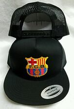 FC BARCELONA  SOCCER BASEBALL HAT MESH TRUCKER COLOR BLACK SNAP BACK FLAT BUILD