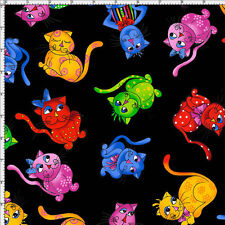 Loralie Designs Tossed Cool Cats Black Cotton Quilting Fabric BTY