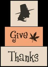 Primitive Block Stencils Give Thanks Pilgrim Fall Leaf Autum Thanksgiving