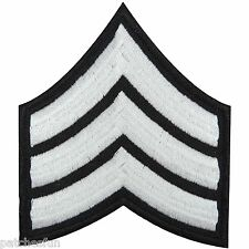 US Army Sergeant Stripes White Military Sew Embroidered Iron on Patch Cap #1345