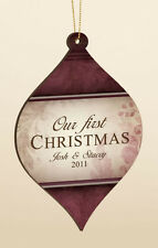 Personalized Laser Engraveable Hanging Christmas Ornament - Our First Christmas