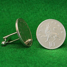 British Coin Cufflinks, Crowned Lion Small 10 Pence QE2 Great Britain UK