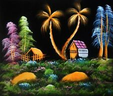 """Painting On Velvet Cloth Beautiful Hut in a Jungle 19""""X16"""" Best Price"""