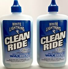 2 PACK WHITE LIGHTNING BIKE BICYCLE CLEAN RIDE CHAIN LUBE 8oz. TWO BOTTLES NEW