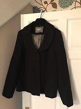 M&S Per Una Black Textured Scoop Peter Pan Collar Blazer Jacket Sz 20