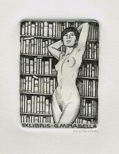 Rare ex libris Costante Costantini, girl naked in library, signed Dotted points