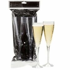"Champagne Flutes Wedding Party 9"" Glasses Clear Plastic New Sealed Pkg of Two"