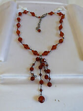 """Sterling Silver 925 Topaz color Crystal beads link necklace with tassel 19""""L"""