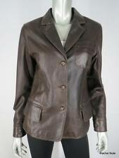 EMANUEL UNGARO LIBERTE 4 38 S Brown Distressed Oiled Leather Jacket Coat EUC