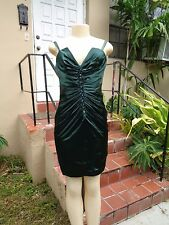 Julian Joyce By Mandalay DARK GREEN STRETCH FITTED CRYSTAL DETAIL COCKTAIL Sz 8