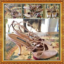 Dolce & Gabbana Metallic Pink Gold Peep Toe Strappy  Sandals SZ 39 /US 8.5