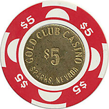 (1) GOLD CLUB $5 CASINO CHIP SPARKS NEVADA COIN BRASS MOLD FREE SHIPPING *