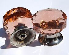 Salmon pink door knobs  large cut glass (pair) Chrome base mortice vintage style