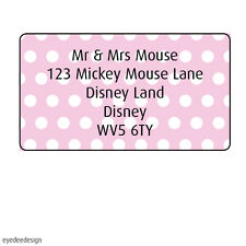 65 x Personalised Address Mini Labels Pink Spot Background Stickers Moving-371