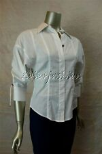 $750 New KAUFMANFRANCO White Stretchy Fitted Shirt Drawstring Tie Top 2 38