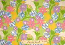 Hallmark Easter Eggs Flowers Bunny Novelty Cotton Kids Fabric YARD