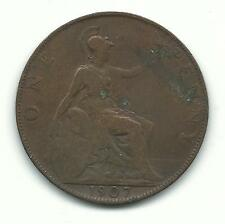 Very Nicely Detailed -1907 Large Penny-Great Britain-Nov998