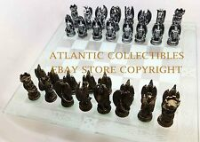FANTASY MEDIEVAL DRAGON LAIR CHESS PIECES & GLASS BOARD SET DESIGNER RESIN