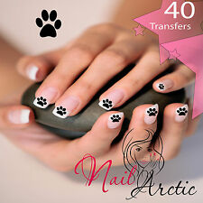 Christmas Nail Wraps Water Transfers Decal Art Stickers 40 x  Dog Paws Black