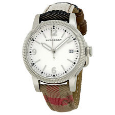 BURBERRY BU7824 UTILITARIAN CHECK LEATHER STRAP LADIES WATCH - 2 YRS WARRANTY