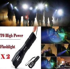 """2 pcs zoomable """"Worlds Brightest"""" Military Navy Seal Grade tactical Flashlights"""