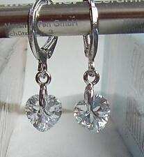 Ohrringe Creolen Creole Herz Zircon  Kristall Kreole weiß Silber weiß klein
