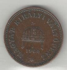 Hungary, 1904, 2 Filler, Bronze, Extra Fine, Km#481, (Y#24)
