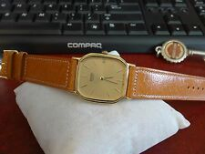 Vintage Seiko Gold Tone Quartz Japan Mens Watch w/ 18mm Genuine Leather Band!