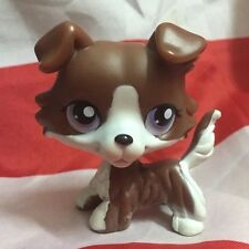 Littlest Pet Shop Rare Brown Collie Dog with purple eyes Puzzle Loose LPS #NO