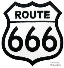 ROUTE 666 embroidered PATCH EVIL BIKER ROAD SIGN 66 new applique HELL IRON-ON